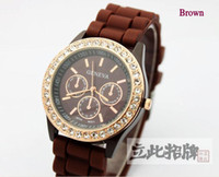 Wholesale Diamond Stone Geneva Watch Candy Jelly Silicone Band UnisexQuartz Within The Shadow Diamonds Watches