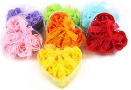new 6pcs=1box Valentine Gift soap flower gift hardmade rose petals flower paper soap mix color 360pcs