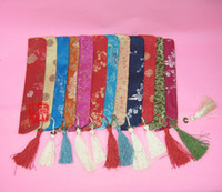 Wholesale Unique Tassel Hand Fan Pouch Wedding Favor Silk Brocade Printed Bag Chinese style Packaging Covers mix color