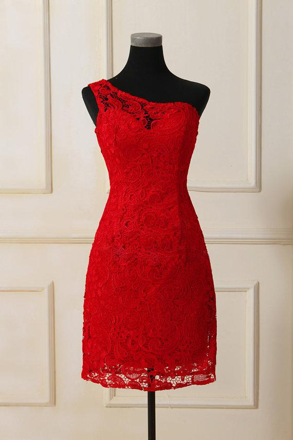Vintage Sexy Qipao Chinese Style One Shoulder Red Lace Sheath Cocktail Dress Party Dress Couture