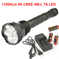 Wholesale 9x CREE XM L T6 LED Lm LED Flashlight Torch X Battery Charger