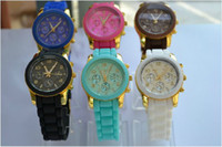 Wholesale Luxury men women jelly Silicone metal watch wristwatches candy colors three eye watches color new