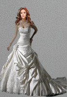 Wholesale New Hot Sellers Vogue Sweetheart Strapless Applique Beading Lace up Wedding Dresses Bride Gown