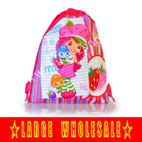 Wholesale Schools Bags Strawberry - HOT new arrival 12Pcs Strawberry Shortcake Girl kids Cartoon Drawstring Backpack Bag,kids school handbags,kids packpacks,Non-woven 34*27CM
