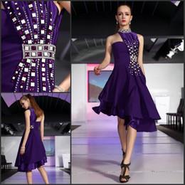 Wholesale Layered Evening Dress Knee Length - 2013 New arrival halter rhinestone crystal layered one shoulder short purple formal evening dresses