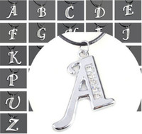 initial charms - 26Pcs Mixed Silver Assorteed Initial Letters Alphabets Charms Pendants Fit Necklaces Crystal Letter Pendants Necklace N159