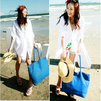 Beach Bags Women Plain New Style fashion Lady Grasses Beach Straw Tote Bag summer Totes Bags 10pcs lot Mix Colour