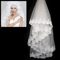 Wholesale Luxury Bridal Veil Layer Ivory m Lace Applique Bridal Accessories For wedding dresses
