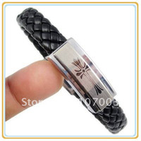 Wholesale Magnetic Stainless Steel Bracelet Stainless Steel Leather Bracelet Stainless Steel Jewellery Free Sh