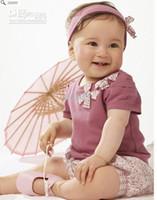 Wholesale AMISSA Girl s suit Purple short sleeve T shirt flower short pant hair set