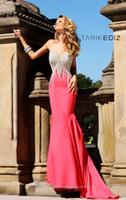 Wholesale Womens new arrival Fashion Formal Evening Dresses Wear Sexy Sweetheart Sleeveless Mermaid Satin Watermelon Prom Evening Gowns