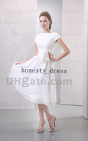 Wholesale Chic White Sash Cap Sleeve Bridemaid Dress A Line Bateau Calf Length Ruffle Covered Button Chiffon