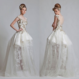 2013 Newest Vintage V Neck Ball Gown Appliqued Lace Tull.Net Zipper Short Sleeves Prom Wedding Dress