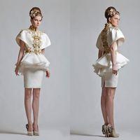 Новый ретро высокой шеи короткими рукавами аппликация китайский Ветер аппликация Мини вечер / платье для коктейля