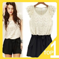 Chiffon Short Sleeve Mini Fast shipping Wholesale 2013 fashion elegant women's lace short rompers sexy jumpsuits Korean style