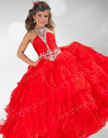 Pageant Dresses Girls Halter Crystals Organza Princess Red Ball ...
