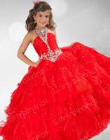 Pageant платья девушки Холтер Кристаллы органзы Принцесса Red Ball платье девушки цветка Новая коллекция от Ritzee девочек 2016 RG6345