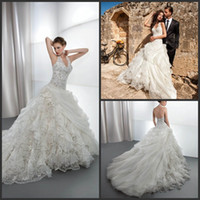 demetrios wedding dress - Junoesque A Line Lace Halter Demetrios Wedding Dresses Layered Chapel Train Lace Up Bridal Gown