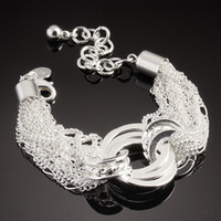 Wholesale 2013 Newest Noble Ladies Bracelet Circular Rings Shining Fashion Hand Chain Silver925 Jewelry SG27