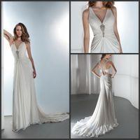 Reference Images V-Neck Chiffon Beach Summer Sexy V Neck Chiffon Demetrios Wedding Dresses Beaded Chapel Train Backless Bridal Gown
