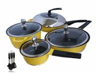 Wholesale 15PCS Nonstick Die Casting Ceramic Cookware Set Yellow Frypan Set with Cooking Tools free EMS free