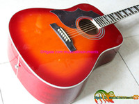 Wholesale Cherry Burst Left Hand Acoustic Guitar Humming Acoustic Guitar Guitars