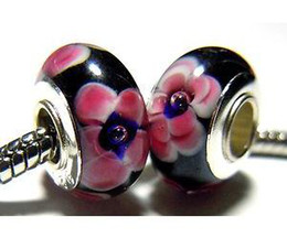 Wholesale 200pcs customized Blue Eyed Pink Carnation on Black European Murano Glass Bead Charm Single Core