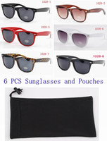 Wholesale 6 Unisex Sunglasses with pouches metal hinge with high quality UV400 Protection lens with CE cer