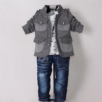 Wholesale New Children Baby Suit Kids Boys Clothing Set Grey Coat And T shirt And Jeans Star Pant Fashion