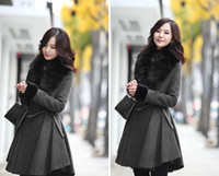 Wholesale 2013 new rabbit hair gray fur collar Pleated PU leather waist woolen coat with women costumes dress
