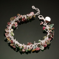 Wholesale 2013 Fashion Women s Bracelet Colorful Stone Silver925 Jewelry Casual Charm Head Chain SG43