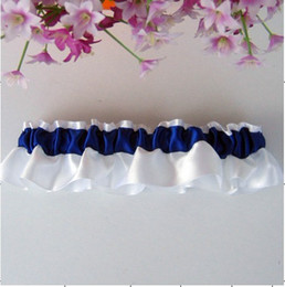 Wholesale 30pcs royalblue white ribbon Bride Garters can custom any colour