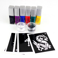 Airbrush Kit airbrush kit - Tattoo Designs Free Sleeve Tatoo Moonlight Glue set Colors Temporary attoos Arm Chest Tattoos