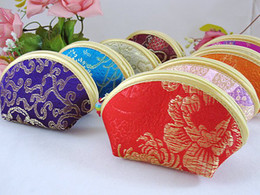 Wholesale Cheap Small Purses Wholesale - Cheap Cute Small Shell Jewelry Zip Bags Packaging Silk Cloth Coin Purse Wallet Storage Pouch Candy Gift Bag Party Favor Wholesale 20pcs lot