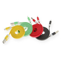 Wholesale Colorful Noodle Flat Data Line Sync pin USB Charger Cable for iphone5 iphone G ipad mini ipad4