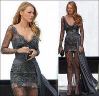 Wholesale Gossip Girl fashion Blake Lively fashion Zuhair Murad Grey Long Sleeves Lace Beaded Celebrity Dress