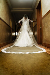 Wholesale White Ivory WEDDING VEIL Voiles de mariée CATHEDRAL Train One Layer LACE MANTILLA Accessoires de mariée m