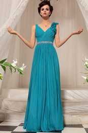 Wholesale 2013 Elegant V Neck Prom Party Dress Noble Floor Length Blue Chiffon Evening Dresses DH1261