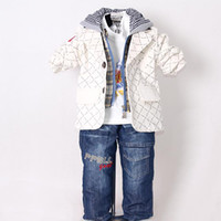 Wholesale New Boy Spring Clothing Set Beige Baby Hoodies And T Shirt And Kids Jeans Pants Children Wear