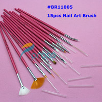 Wholesale 15pcs Nail Art Design Brushes Gel Set Painting Draw Pen Polish Red Handle Dropshipping SKU G0024