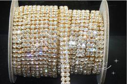 Wholesale MIC Yard Row Crystal Rhinestone Close Chain ss16 Golden Wedding Decorations