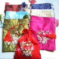 Wholesale Pretty Hand Ribbon embroidery Gift Tea Bags Favor Candy Drawstring Pouch Satin Packaging x cm mix color Free