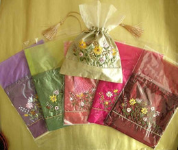 Wholesale Personalized Wedding Candy Bags Silk Fabric Embroidery Tea Bags Drawstring Pouch mix Free