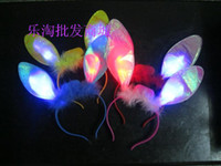 Wholesale Fashion LED Toy red and blue double flash lighting hairpin Rabbit ears headband