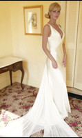 Real Photos arriva trains - 2015 Fashion New Arriva V Neckline Satin Beads Chiffon Train V Back Formal Long Wedding Dress Sexy Bridal Gown