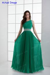 Wholesale Chic Teal Green Party Dresses One Shoulder Pleated Chiffon Sequin Beaded Floor Length Prom Dresses