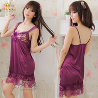 Wholesale Women s sexy lace decoration usuginu sleepwear full dress transparent set temptation x22