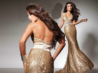 Wholesale Golden Prom Dresses Sequin Halter Crystal Beading Beaded Brush Train Ruffle Girls Dresses Tony Bowls