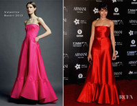 Reference Images SAG Strapless Freida Pinto In Vintage Valentino Red Dresses Mermaid Floor Length Celebrity Gowns