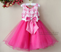Wholesale New Arrival Kids Girl Fashion Party Dress Pink with Bow Beautiful Princess Dresses Children Clothes